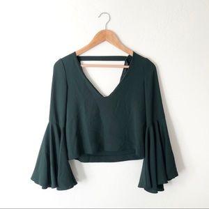 Zara Crop Long Sleeve Ruffle Cuff Blouse